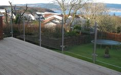 Stainless steel patio glass balustrade / garden fencing balcony railing panels