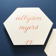 Fall placecards for beautiful weddings! Copper and cream hexagon place card, calligraphy . Place Card Calligraphy, Wedding Calligraphy, Wedding Table Assignments, Thanksgiving Place Cards, Copper Wedding, Beautiful Calligraphy, Wedding Signage, Wedding Place Cards, Your Cards