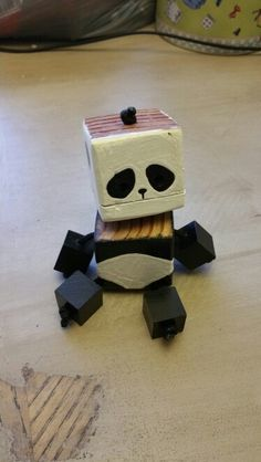 Mini Panda   Wood Toy, Natural Wood, Wood Robot, DIY Toy #woodtoy