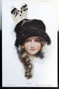 "Wonderful Art of ""Harrison Fisher"" Title ""Girlie"" R&N Pub 261 Very Fine Postcard by JerryBurton on Etsy"
