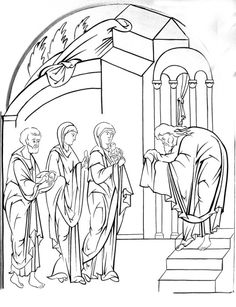 Presentation of Christ in the temple Russian drawing.