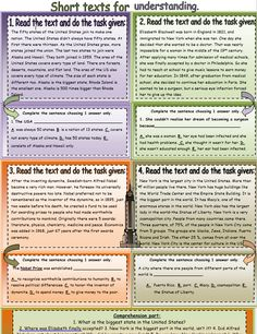 4 Short Texts Reading Comprehension - My Reading Kids Elizabeth Blackwell, Reading Material, Kids Reading, Reading Comprehension, Texts, Classroom, Learning, Shoes, Class Room