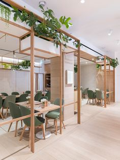 Light wooden interior with green furniture and plants -Body Studio at Selfridges Oxford Street by Neri&Hu_Executive Architects were FDArchitecture Ltd