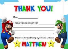 Super Mario Brothers Thank You Card Digital File 4X6 or 5X7 on Etsy, $6.00