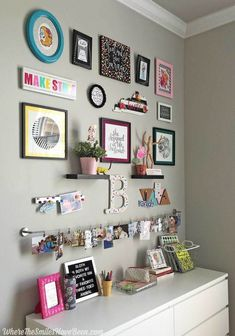 Aug 2, 2017 - Take of tour of this colorful craft room gallery wall! It's fun, quirky, casual, and full of personality! Enter to win a $100 Erin Condren eGift Card too! Gallery Wall Bedroom, Girl Bedroom Walls, Bedroom Wall Collage, Bedrooms, Gallery Walls, Master Bedroom, Wall Art, Ikea Craft Room, Small Craft Rooms