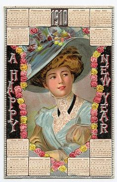 Free Vintage New Years Clip Art - 1910 Calendar Card - The Graphics Fairy
