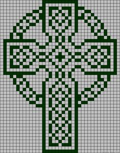 Celtic Cross, grid pattern,  filet crochet