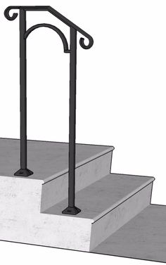 Best Standard Single Post 1 Or 2 Step Railing For Stairs Steel 400 x 300