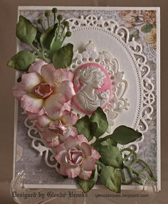 Stunning Cameo Card...with flowers & paper lace trim.