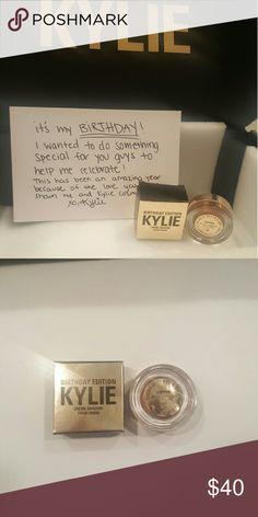 Kylie Cosmetics Birthday Edition Copper Eyeshadow New, never been used. Kylie Cosmetics Birthday Limited Edition Copper Cream Eyeshadow. 100% authentic. Doesn't include black box or note. Kylie Cosmetics Makeup Eyeshadow