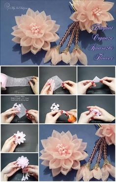 Kanzashi flower tutorial - How to make Kanzashi flowers - Arts & Crafts Posts about Tutorial Kanzashi written by rinapramana Simple, easy, and easy to layer Kanzashi Organza Flowers, Cloth Flowers, Kanzashi Flowers, Paper Flowers Diy, Lace Flowers, Handmade Flowers, Felt Flowers, Fabric Flowers, Satin Ribbon Roses