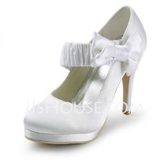 Satin Stiletto Heel Closed Toe Platform Pumps Wedding Shoes With Bowknot (047011862) - JJsHouse