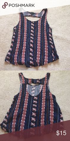 TRIBAL PRINT TANK TOP Worn once w/ cut out in the back...plus size Forever 21 Tops Tank Tops