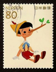 13996 - Framed Postage Stamp Art - Pinocchio - Disney - Japan - Movies and Entertainment Images Vintage, Photo Vintage, Pinocchio, Disney Japan, Japanese Stamp, Postage Stamp Design, Art Postal, Going Postal, Illustration