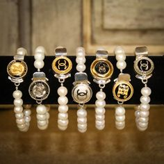 Vintage couture button bracelets