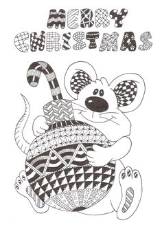 Zentangle made by Mariska den Boer 78 small greetingcard Tangle Doodle, Zen Doodle, Doodle Art, Christmas Colors, Christmas Art, Xmas, Coloring Book Pages, Coloring Pages For Kids, Chrismas Cards