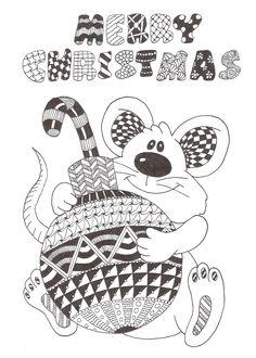 Zentangle made by Mariska den Boer 78 small greetingcard