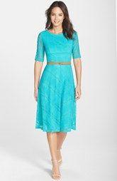 Eliza J Belted Knit Fit & Flare Dress