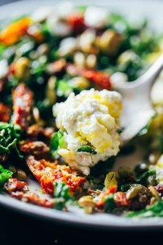 Goat Cheese Scrambled Eggs with Pesto Veggies - A rainbow of healthy comfort food. 400 calories.