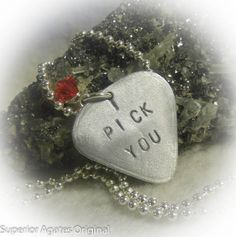 I Pick You Hand Stamped Silver Aluminum Necklace by superioragates, $12.00