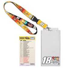 """NASCAR Kyle Busch Credential Holder Lanyard by WinCraft. $10.95. Kyle Busch Credential Holder LanyardScreen print graphicsLobster claw clipWoven graphicsPlastic sleeve measures 8.5"""" x 4.25""""Hangs 20"""" in length (including keyring)ImportedOfficially licensed NASCAR productHangs 20"""" in length (including keyring)Woven graphicsPlastic sleeve measures 8.5"""" x 4.25""""Screen print graphicsLobster claw clipImportedOfficially licensed NASCAR product"""