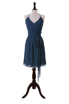 Sexy Short Chiffon Dress With Haltered Neckline