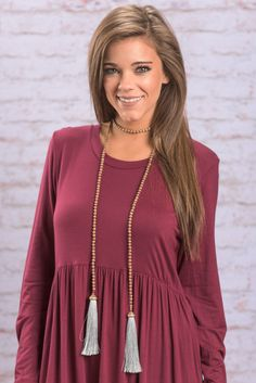 """""""Bold And Beautiful Necklace, Gray"""" You can't much more trendy than a fab wrap necklace with tassels! That's pretty much as chic as it gets! This beaded wrap necklace is no exception!  #newarrivals #shopthemint"""