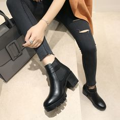 2017 Wholesale Women Girls Casual Short Boots Block High Heel Ankle Walking Boots Shoes