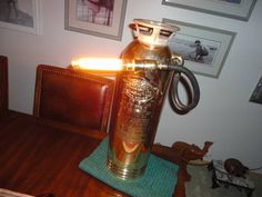 steampunk lamps repurposed from antique fire extinguishers PAIR