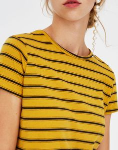 Pull&Bear - basic striped t-shirt - dark yellow - 05230320-V2018