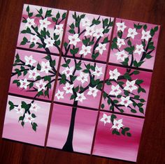 art with 2 birds painting of birds and cherry blossom by SheerJoy