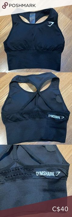 Gymshark Seamless Black Long Line Bra Gymshark Seamless Black Long Bra with cute back detailing. In good used condition. Gymshark Intimates & Sleepwear Sports Bras Blue Sports Bras, Sports Bra Sizing, Crop Top Bra, Bra Tops, Navy And White, Plus Fashion, Fashion Trends, Athletic Tank Tops, Shopping