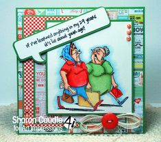 Art Impressions Rubber Stamps: Ai Golden Oldies: Shoppers # Then I paired it with Lie About Your Age Two girlfriends out for a walk. Birthday Wishes, Birthday Cards, Funny Old People, Old Lady Humor, Art Impressions Stamps, Fun Challenges, 1st Birthdays, Funny Cards, Diy Cards