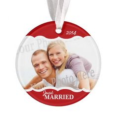 Just Married and Merry Photo Red Christmas Ornament