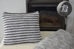 Handmade knitted pillow white gray and dark gray by HolaHandmade