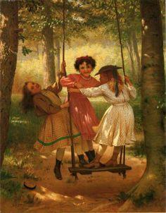"""Three Girls On A Swing - The Three Tomboys"" by John George Brown (1831 – 1913, English-born American)"