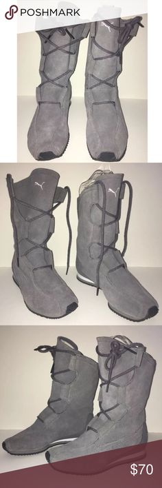 Puma MAHANUALA Women's Gray SUEDE Boots Athletic This listing is for a pair of women's leather suede Puma Mahanuala athletic boots.  They are in excellent pre-loved condition. Minor wear throughout. Soles look new.Please refer to the photos and scroll across the thumbnails for more angles.  They lace up but you can easily slide into them/pull them on.   Do not miss out on these gorgeous shoes! Puma Shoes Athletic Shoes
