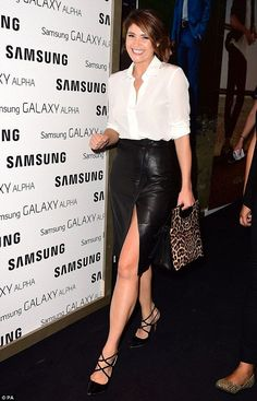 Gemma Arterton flashes legs at Samsung Galaxy event in leather skirt | Mail Online