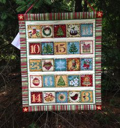 Quilted Advent Calendar Wallhanging Christmas by FabriArts on Etsy