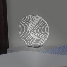 A luminária Caracol é impressionante, seu desenho em espiral ilude os olhos com a sensação de o grafismo ultrapassar a dimensão 2D contemplada em seu projeto. Se encante com esta fabulosa luminária exclusiva Fábrica da Moldura!   Composição   Material: Acrílico, iluminação em LED e cabo com saída USB.  Dimensão: 30x13x30cm
