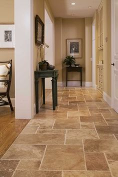 Kitchen Floor Tile Design Ideas, Pictures, Remodel and Decor Kitchen Floor Tile Patterns, Patterned Kitchen Tiles, Kitchen Flooring, Tile Floor Kitchen, Tile Floor Designs, Home Renovation, Home Remodeling, Quinta Interior, Travertine Tile