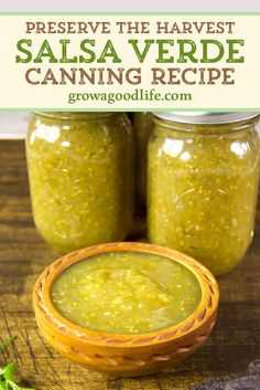 Salsa Verde Canning Recipe, Canning Salsa, Salsa Recipe, Canning Recipes, Meat Recipes, Mexican Food Recipes, Tomatillo Salsa Verde, Roasted Tomatillo Salsa, Patio Tomatoes