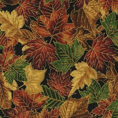 Quilting Treasures Autumn Splendor Leaves Leaf Gold Gild Cotton Fabric YARD