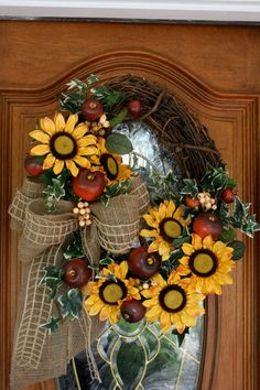 Fall Wreath Sunflowers Apples by ThePetalPeddlers on Etsy Wreath Crafts, Diy Wreath, Grapevine Wreath, Door Wreaths, Burlap Wreaths, Wreath Ideas, Thanksgiving Wreaths, Autumn Wreaths, Holiday Wreaths