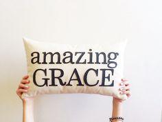 "amazing grace decorative pillow cover, 12"" x 20"", typography, inspirational bible verse, natural cream, Christian decor"
