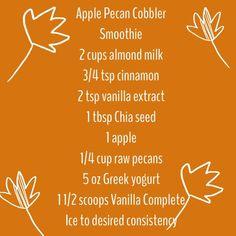 Juice Plus Complete Vanilla Smoothie apple pecan cobbler smoothie #www.jennarancourt.juiceplus.com