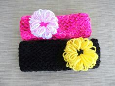 Head bands and flowers made on a loom