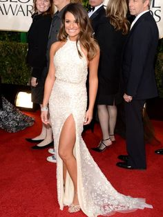 Lea Michele at the Golden Globes. #redcarpet #fashion http://www.ivillage.com/golden-globes-2013-best-and-worst-dressed/1-b-514363#514917