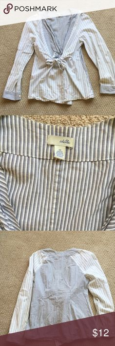 Odille blouse Cream with grey and light blue stripes.tie and button front. Drapes over chest. Size 10 Anthropologie Tops Blouses