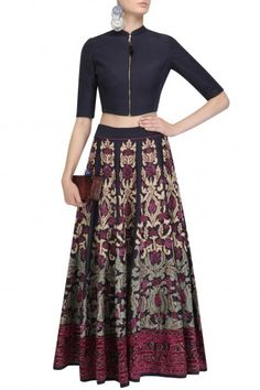 Black Applique Work Skirt and Quilted Crop Top Set By Swatti Kapoor